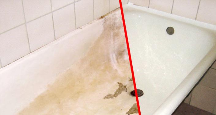 Ванна до и после нанесения жидкого акрила