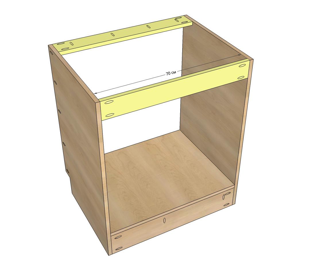 Крепление верхних поперечин для фиксации верхней части шкафа под мойку