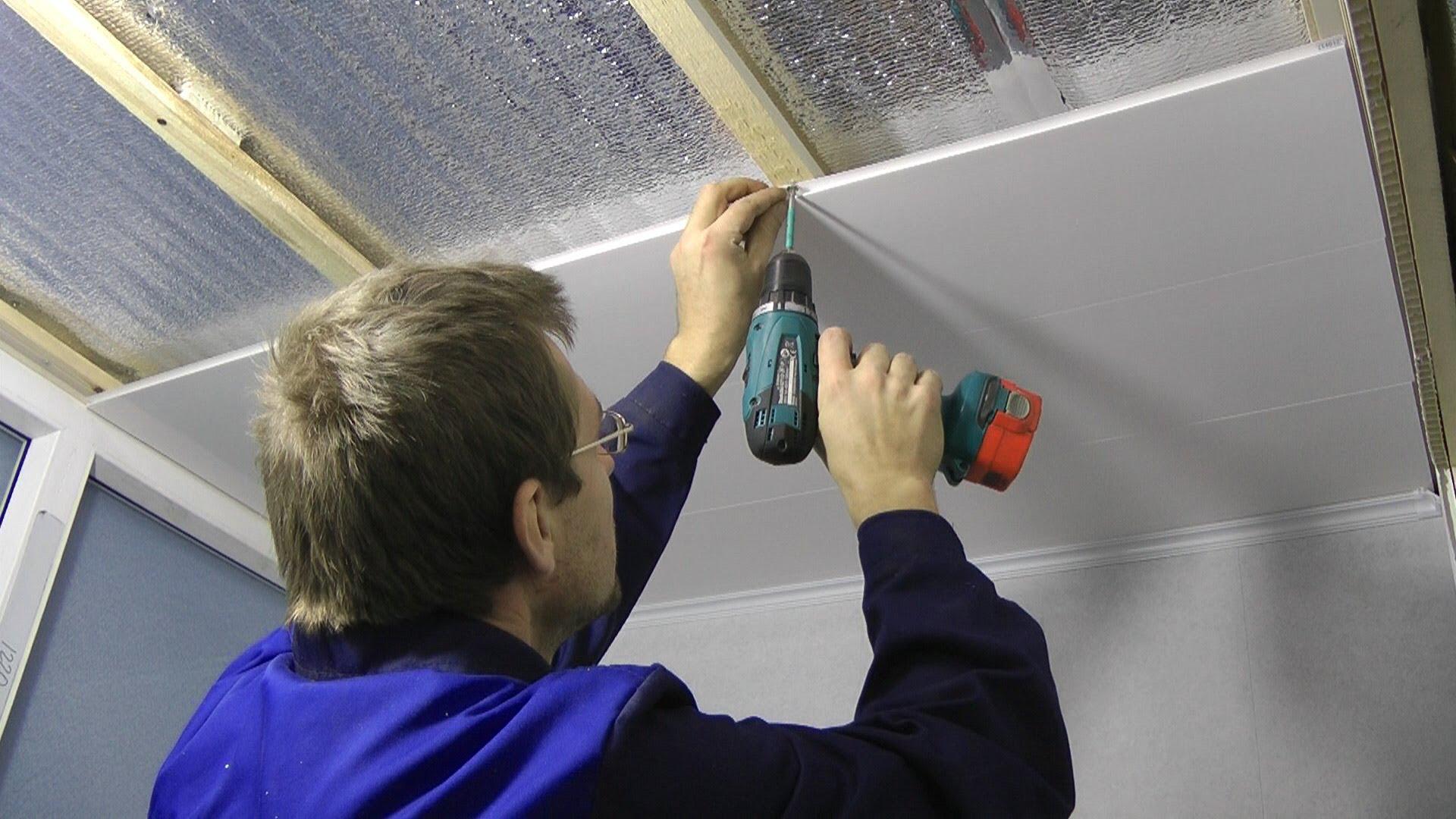 Крепление панелей ПВХ на потолок
