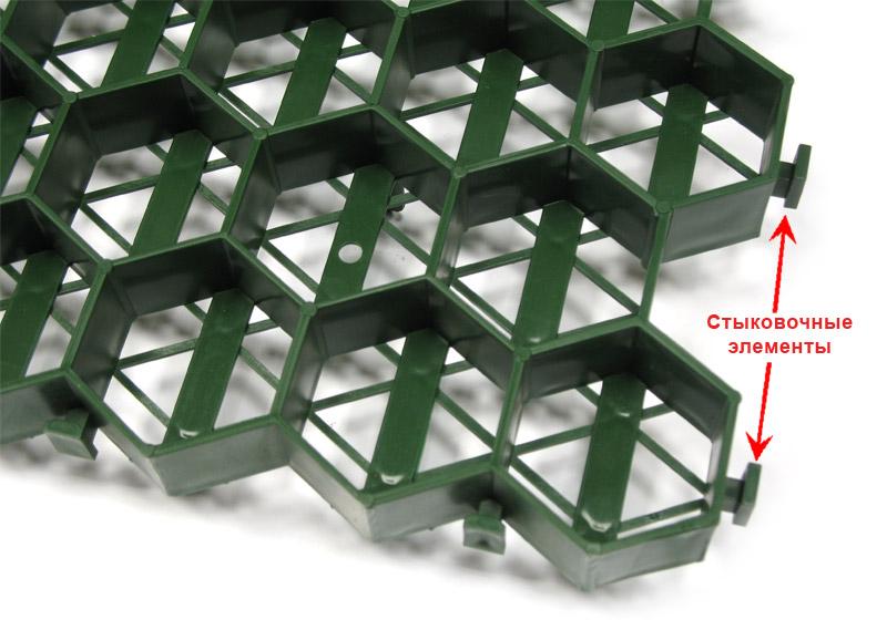 Стыковка пластиковой газонной решетки