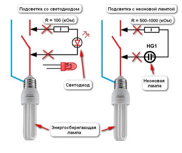 Удаление индикатора из цепи выключателя