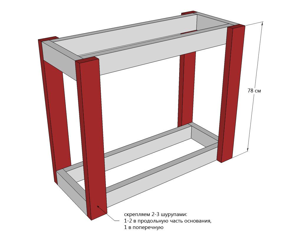 Схема каркаса деревянного сервировочного столика