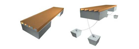 Схема устройства причала на бетонных понтонах