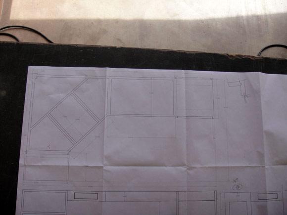 Чертеж стола с бетонной столешницей