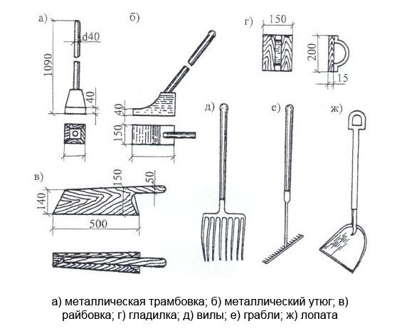 Инструменты для ручной укладки асфальтобетонной смеси