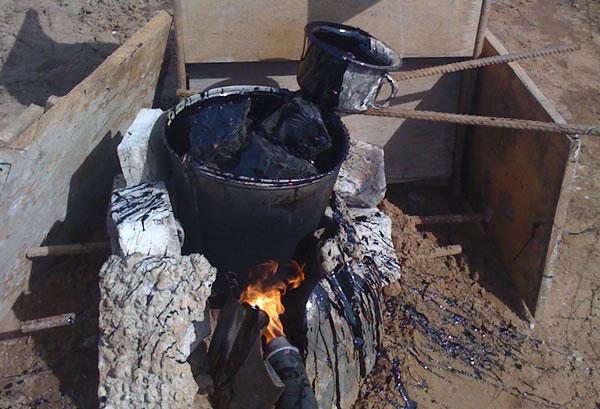Нагревание строительного битума