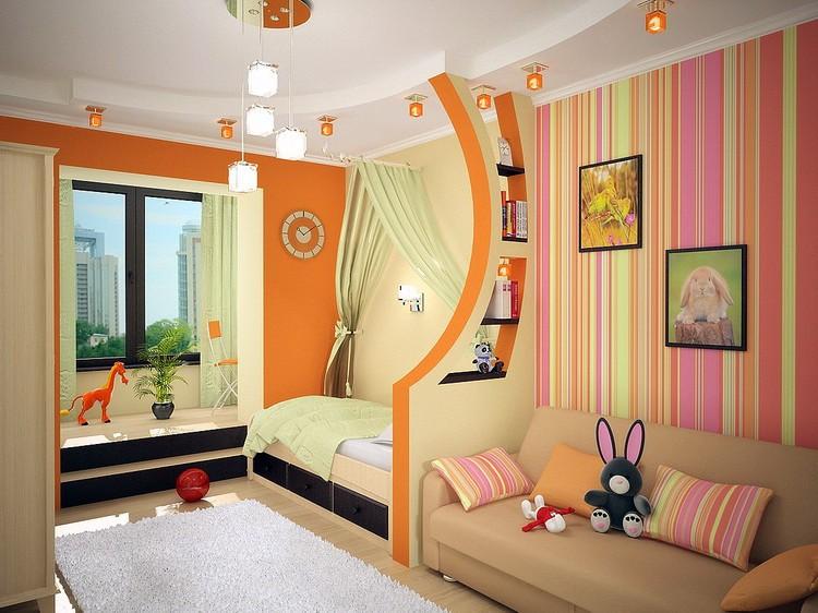 Дизайн детской комнаты в ярких теплых тонах