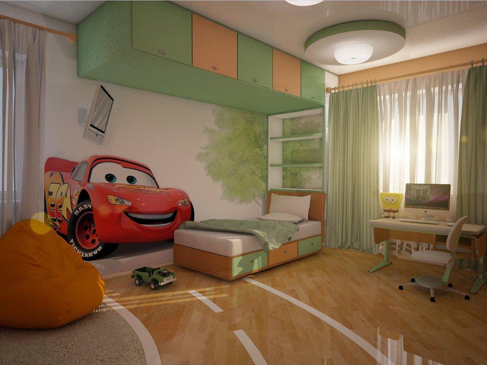 Гармония зеленого и оранжевого в дизайне детской