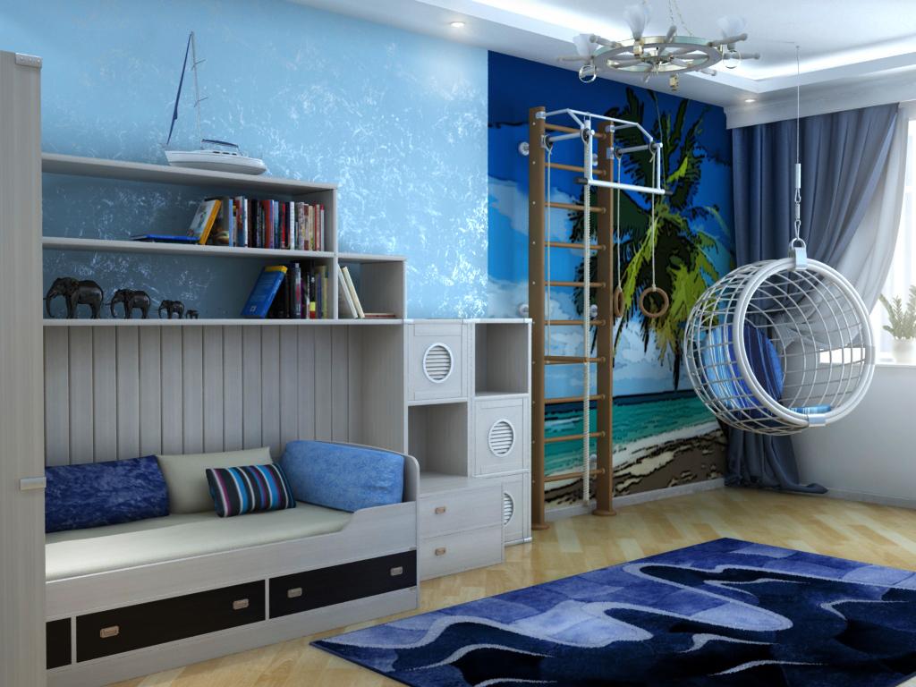 Сочетание голубых обоев с фотообоями: дизайн в морском стиле