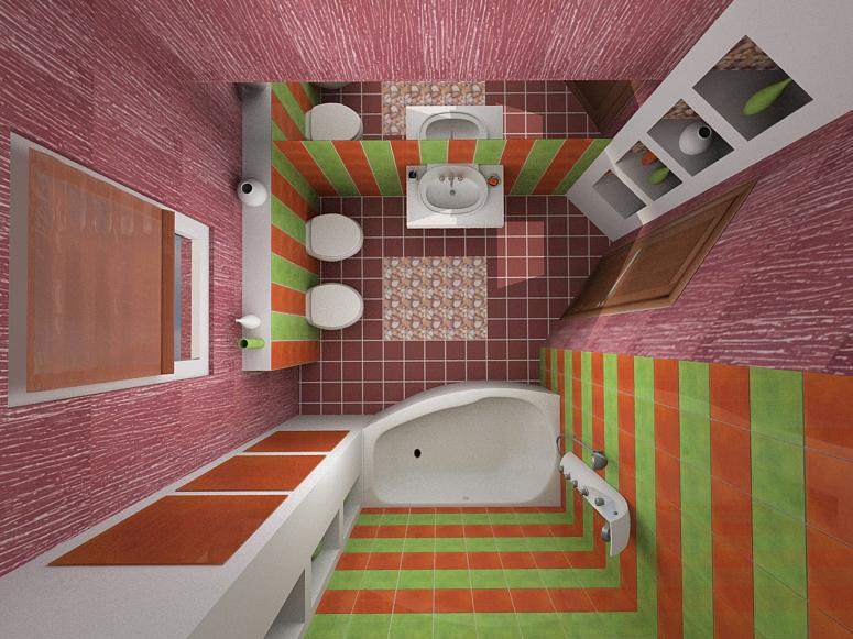 Дизайн маленького санузла с ванной