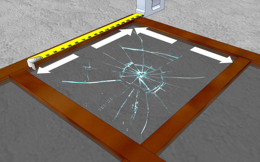 Измерение размеров разбитого стекла