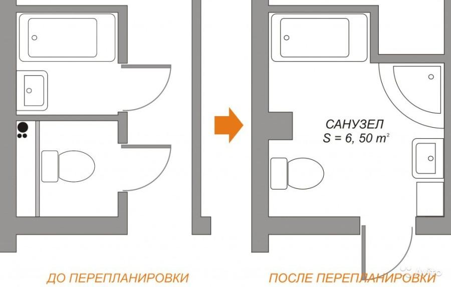 Перепланировка: расширение ванной и туалета за счет коридора
