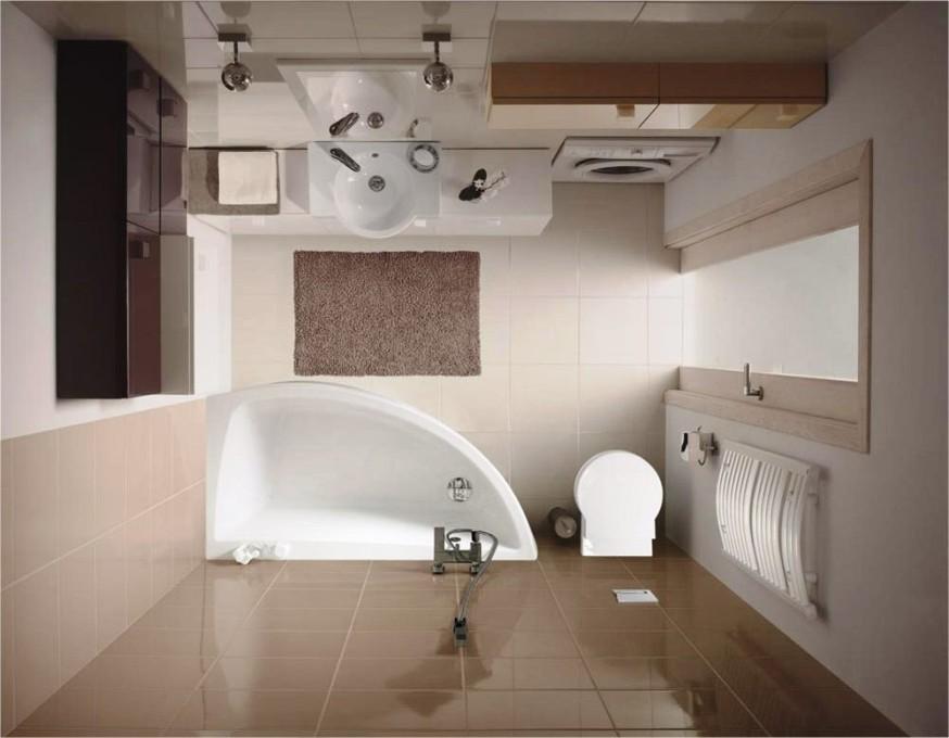 Проект: совмещенный санузел с угловой ванной и стиральной машиной