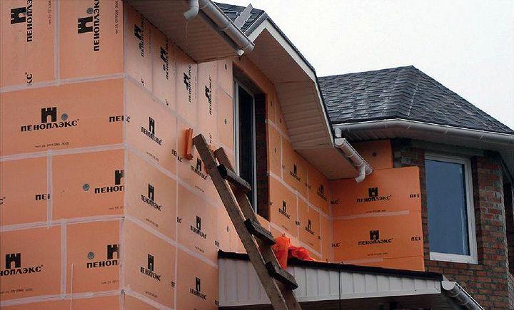 Утепление верхних наружных стен дома пеноплексом