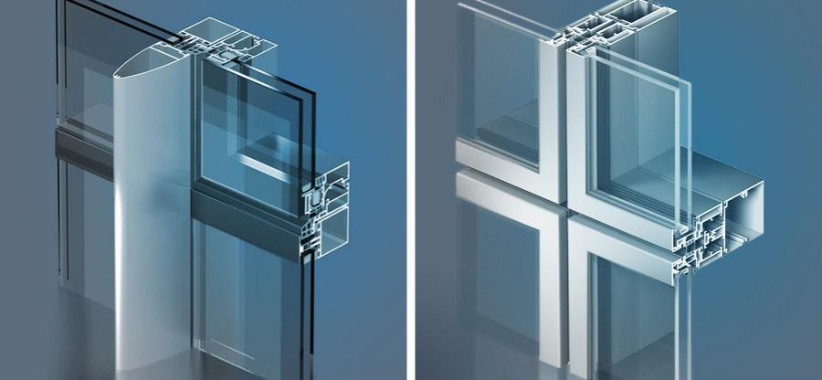 Узлы полуструктурного и модульного витражного остекления