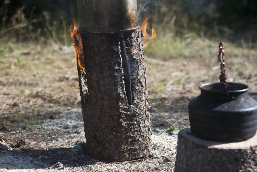 Использование финской свечи для готовки