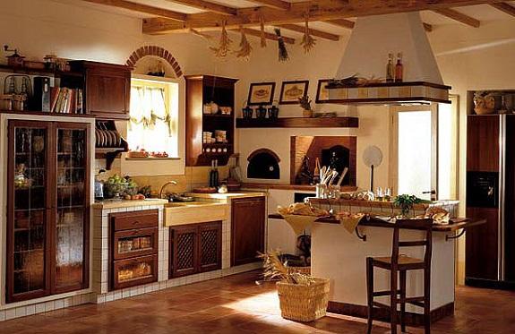 Плиточные полы в интерьере итальянской кухни