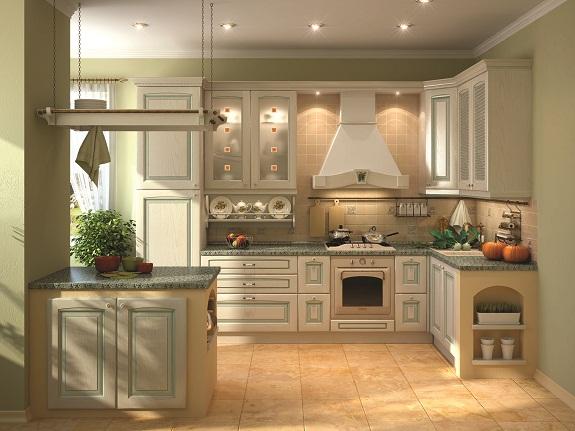 Зленая кухня в итальянском стиле