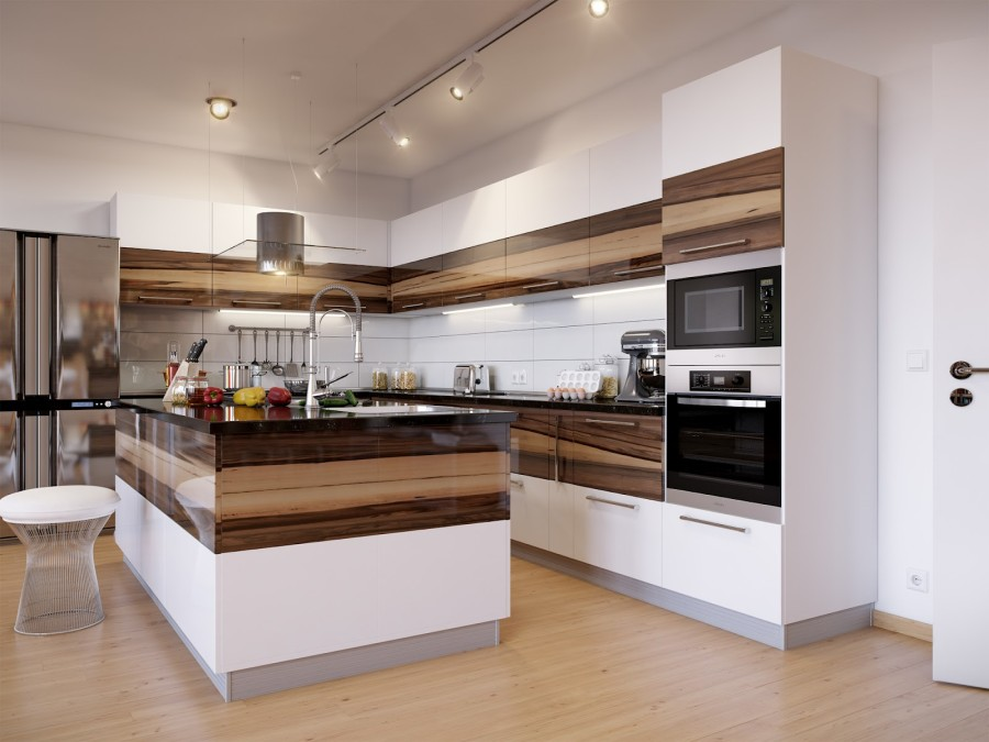 Кухонный гарнитур и рабочая поверхность в едином стиле и точечной подсветкой