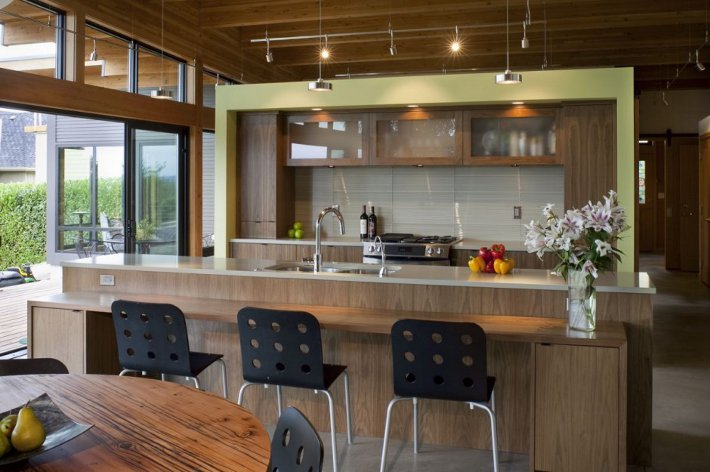Рабочая зона на открытой кухне