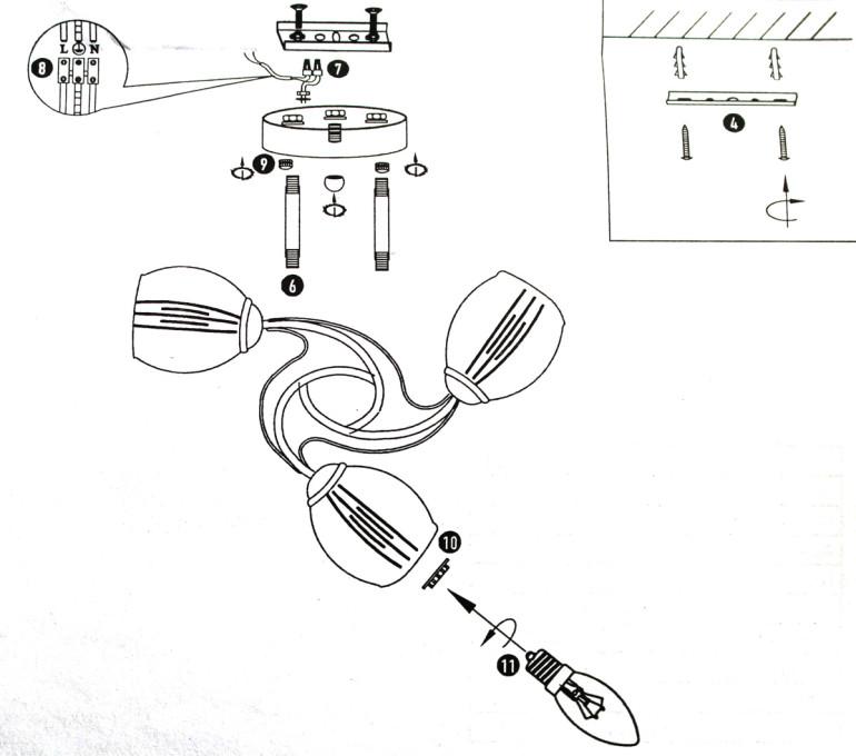 Схема сборки люстры и монтажа ее на планку