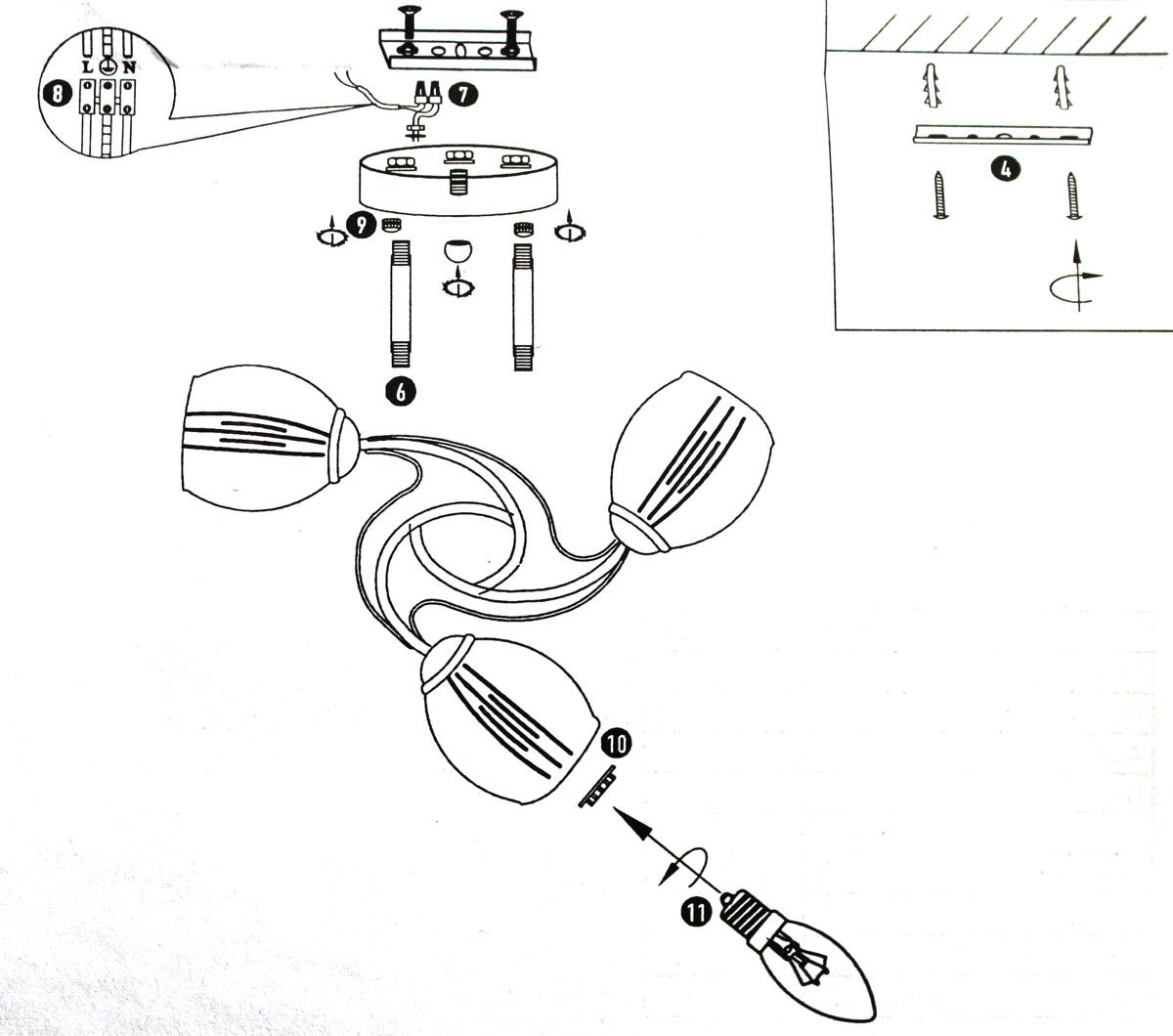 схема подключения люстры к четырем проводам
