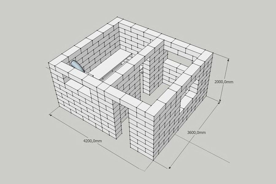 Чертеж здания из пеноблоков с указанием размерности