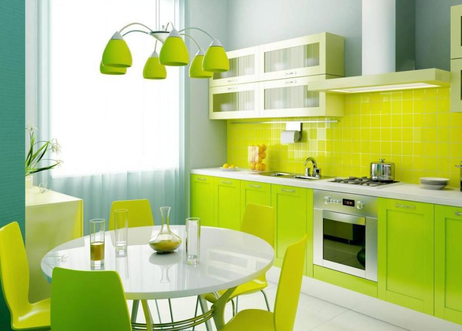 Салатовые тона в интерьере кухни