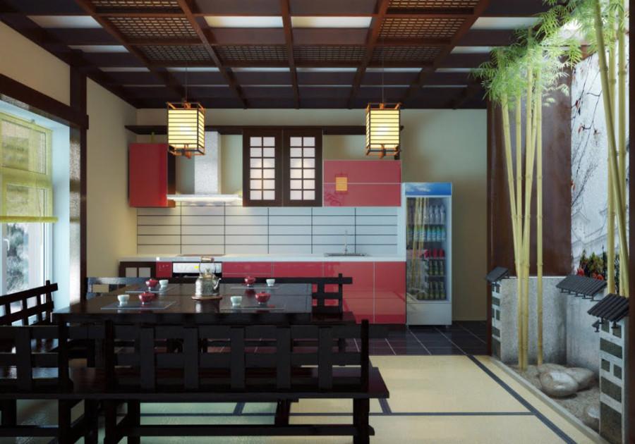 Фото японского дизайна кухни. Различные аксессуары