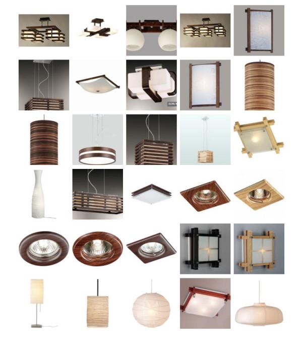 Различные светильники для японского стиля