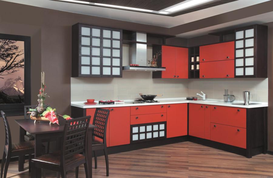 Красная кухня в японском стиле фото