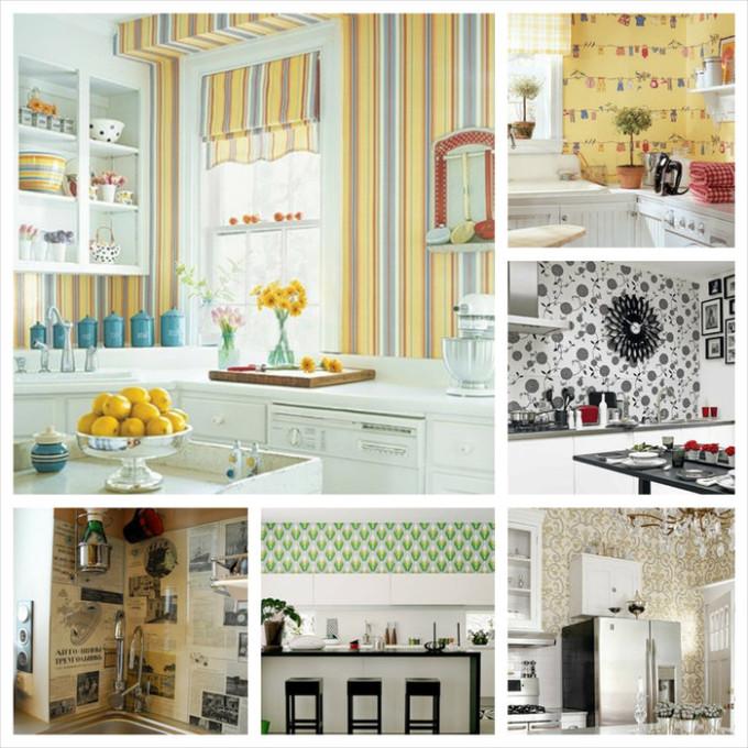Различные цветовые решения обоев для кухни