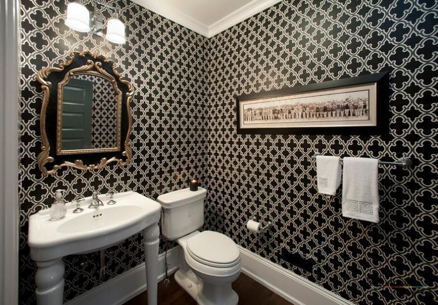 Темные обои в ванную комнату фото