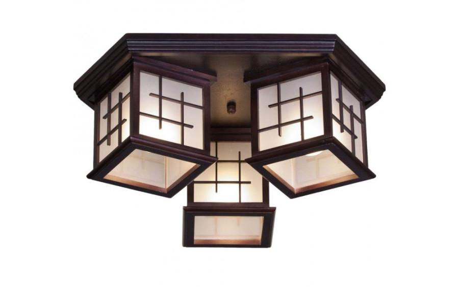 Потолочная люстра из дерева в японском стиле