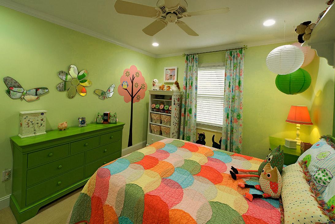 Дизайн детской комнаты в зеленом цвете