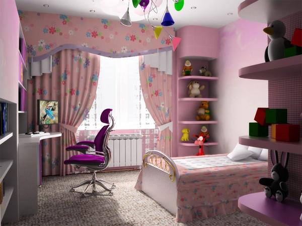 Дизайн детской комнаты для девочки с минимумом техники