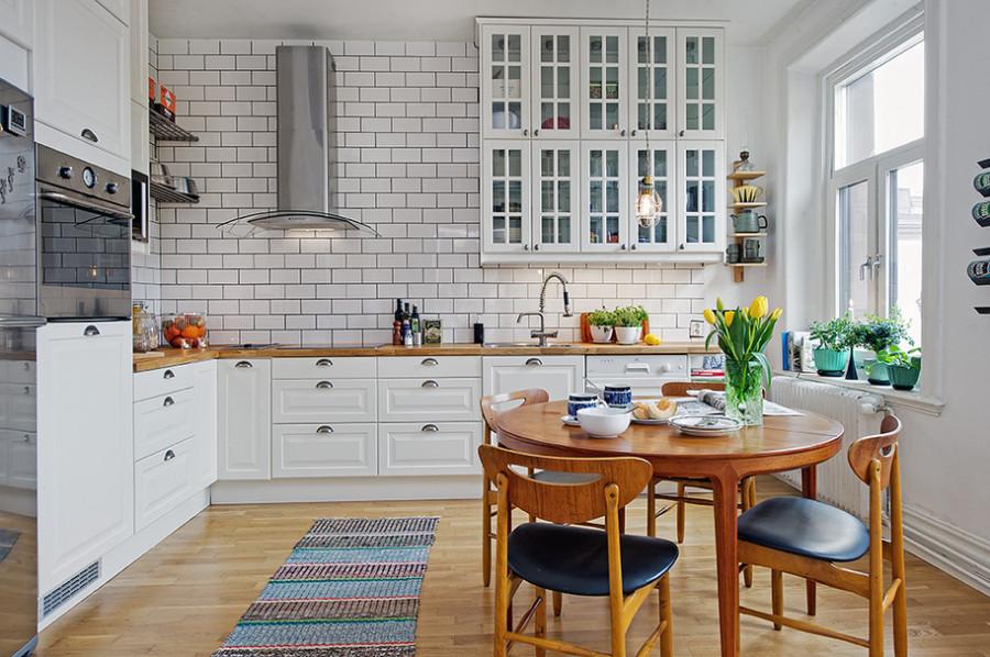Пример скандинавского интерьера в кухне