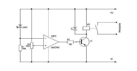 Схема фотореле для уличного освещения