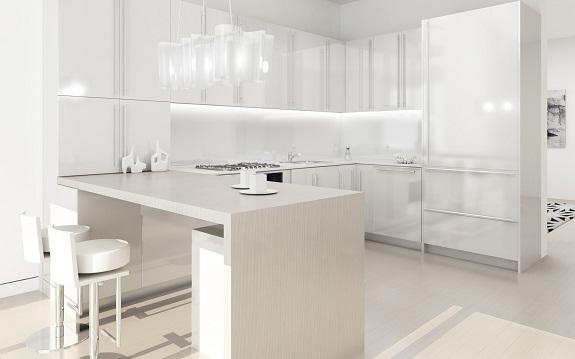Однотонная белая кухня