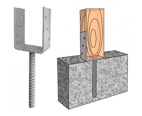 П-образный крепеж бруса к фундаменту