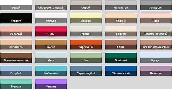 Цветовая гамма шовной затирки