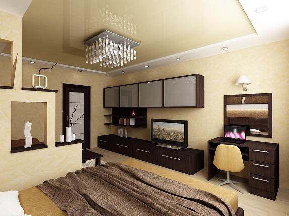 Вариант оформления гостиной 18 квадратов