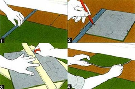 Как правильно подрезать ковровую плитку