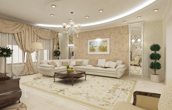 Классический стиль оформления гостиной